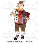 Vector Clipart of an Oktoberfest Man Playing Accordian Music by Pushkin