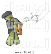 May 5th, 2015: Vector Clipart of an Olive Green Musician Playing Jazz with a Saxophone by Leo Blanchette
