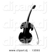 Vector Clipart of an Ornate Violin - Black and White Version by BNP Design Studio