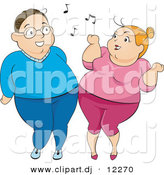 Vector Clipart of an Overweight Cartoon Woman and Man Dancing with Each Other by BNP Design Studio