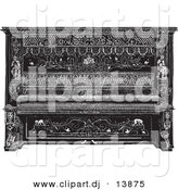 Vector Clipart of an Upright Piano Sketch - Vintage Black and White Sketched Version by BestVector