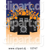 Vector Clipart of Black and Chrome Music Speakers Facing Different Directions over a Blue Background with Orange Vines and Circles by Paulo Resende