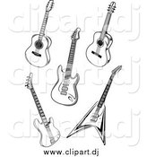 Vector Clipart of Black and White Acoustic and Electric Guitars by Vector Tradition SM