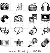 Vector Clipart of Black and White Clapboard, Film Strip, Radio, Headphones, Controller, Camera, Pictures, Computer, Masks, Exclamation Point, Video Camera, Speaker, Equalizer, Robot, Microphone and Cell Phone Icons on a White Background by AtStockIllustration