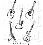 Vector Clipart of Black and White Guitars by Vector Tradition SM
