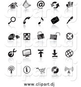Vector Clipart of Black and White Icons by Cidepix