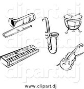April 12nd, 2015: Vector Clipart of Black and White Music Instruments by Vector Tradition SM