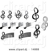 September 16th, 2015: Vector Clipart of Black and White Music Notes by Vector Tradition SM