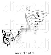 Vector Clipart of Black and White Music Notes Spiraling into a Tornado by TA Images