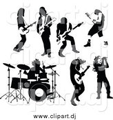 October 19th, 2014: Vector Clipart of Black and White Rock and Roll Male Musicians by Frisko