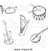 Vector Clipart of Black and White Sketched Instruments by Vector Tradition SM