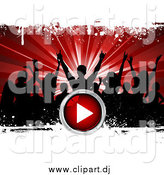 Vector Clipart of Black Silhouetted Party People over a Bursting Red Background with White Grunge and a Red Play Button by KJ Pargeter
