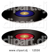 Vector Clipart of Black Vinyl Records with Red and Blue Blank Labels by Michaeltravers