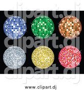 Vector Clipart of Blue, Green, Orange, Yellow and Pink Disco Balls Sparkling over Black by KJ Pargeter