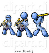 Vector Clipart of Blue Men Playing Flutes and Drums by Leo Blanchette