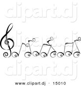 Vector Clipart of Cartoon Black Swirly Music Notes by BNP Design Studio