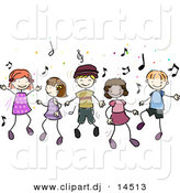 Vector Clipart of Cartoon Doodled Kids Dancing to Music by BNP Design Studio