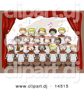 Vector Clipart of Cartoon Doodled Kids Singing at School Choir on Stage by BNP Design Studio