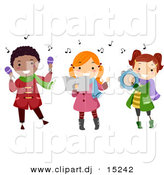 Vector Clipart of Cartoon Kids Playing Music Instruments While Singing by BNP Design Studio
