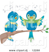 Vector Clipart of Cartoon Parrots Singing on a Tree Branch by BNP Design Studio