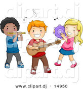 Vector Clipart of Cartoon Preschool Kids Playing Instruments by BNP Design Studio