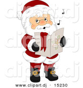 Vector Clipart of Cartoon Santa Singing Christmas Carols by BNP Design Studio