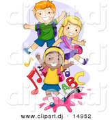 Vector Clipart of Cartoon School Kids Playing to Music and ABC Song by BNP Design Studio
