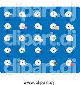 Vector Clipart of CD and Disc Icons on Blue by Rasmussen Images
