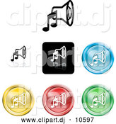 Vector Clipart of Colored Music Speaker Icons by AtStockIllustration