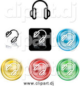 Vector Clipart of Colorful Headphones Icons by AtStockIllustration