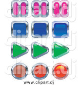 Vector Clipart of Colorful Music or Video Player Buttons; Pause, Stop, Play and Record by AtStockIllustration
