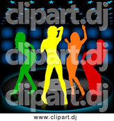 Vector Clipart of Colorful Silhouetted Women Dancing on a Vinyl Record over a Black Background with Blue Lights by Dero