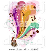 Vector Clipart of Colorful Waves of Music Notes Flowing out from an Old Gramophone by BNP Design Studio