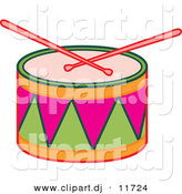 Vector Clipart of Drumsticks on Colorful Drum by Cherie Reve