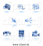 Vector Clipart of Floating Shiny Blue Media Icons by AtStockIllustration
