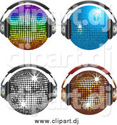 Vector Clipart of Four Shiny Disco Balls Wearing Headphones by Elaineitalia