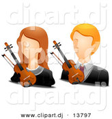 Vector Clipart of Girl and Boy Violinist Avatars - Digital Collage by BNP Design Studio