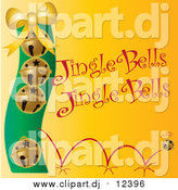 May 14th, 2016: Vector Clipart of Golden Christmas Bells with Jingle Bells Text on Yellow by Pams Clipart
