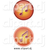 Vector Clipart of Gradient Orange Music Icons with Notes by YUHAIZAN YUNUS
