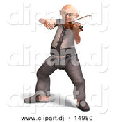 Vector Clipart of Grandpa Playing Violin: 3d Design by Ralf61