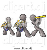 Vector Clipart of Gray Men Playing Flutes and Drums by Leo Blanchette