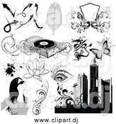 Vector Clipart of Grayscale Urban and Music Designs by OnFocusMedia