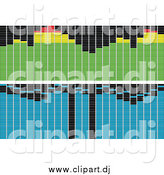Vector Clipart of Green and Blue Pixelated Equalizer Bars by Tdoes