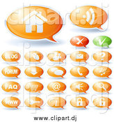 Vector Clipart of Green and Orange Speech Bubble Website Icons by Oligo