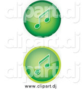 May 7th, 2015: Vector Clipart of Green Music Icon Buttons with Music Notes by YUHAIZAN YUNUS