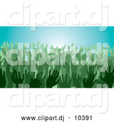 Vector Clipart of Green Silhouetted Hands in a Crowd by AtStockIllustration