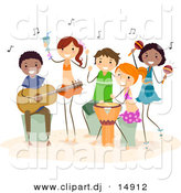 Vector Clipart of Happy Cartoon Beach Kids Playing Music by BNP Design Studio