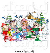 Vector Clipart of Happy Elves Walking Through a Winter Village and Listening to Christmas Music on CD Players by LaffToon