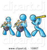 Vector Clipart of Light Blue Men Playing Flutes and Drums at a Music Concert by Leo Blanchette