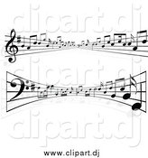 August 31st, 2014: Vector Clipart of Lines of Sheet Music Flowing into the Distance and Curving by KJ Pargeter